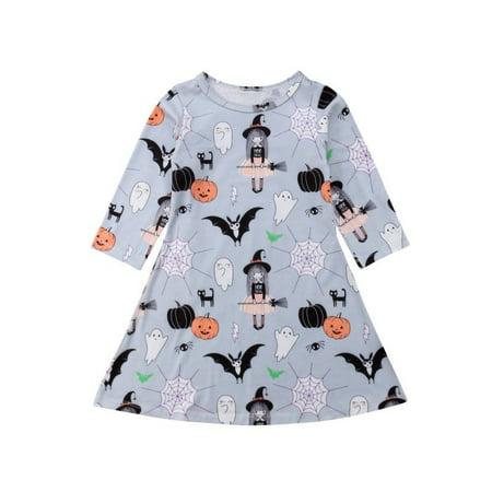 Poofy Dresses For Halloween (Halloween Toddler Kids Baby Girls Cartoon Long Sleeve Dress Casual)