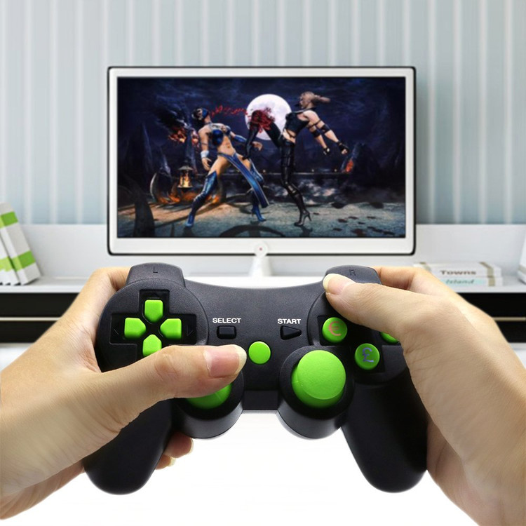PS3 controller Wireless Bluetooth Double Shock Sixaxis Remote Gamepad for Sony PS3 PlayStation 3-Green