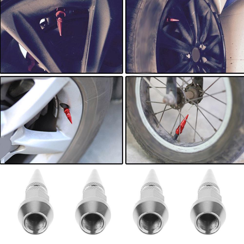 4PCS Aluminum Spike Wheel//Tire Valve Stem Car Truck Air Caps Covers Silver