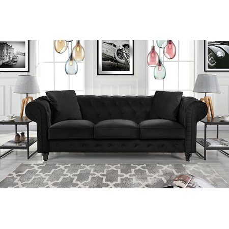 Classic Velvet Scroll Arm Tufted Button Chesterfield Sofa (Black)