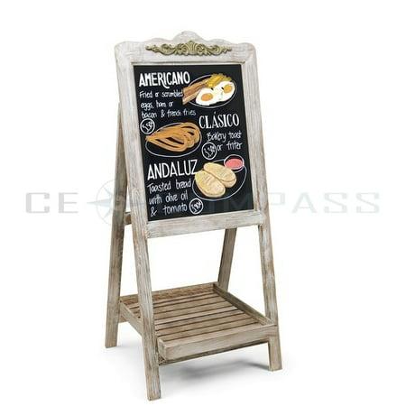 A-Frame Chalkboard Sign Rustic Wooden Sidewalk Easel Chalk Stand - Slatted Tray Freestanding Sturdy Sandwich Board Double Sided Message Display - Vintage Restaurant Chalkboard for Cafe & Bar Double Chalkboard Easel