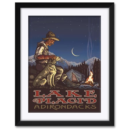 Lake Placid Adirondacks New York Camper And Dog Framed & Matted Art Print by Paul A. Lanquist. Print Size: 18