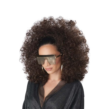 Adult 3/4 Curly Fall Brunette Disco Afro Wig - Brown Afro