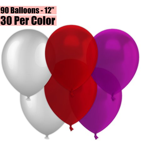 12 Inch Party Balloons, 90 Count - Metallic Silver + Burgundy Wine + Plum - 30 Per Color. Helium Quality Bulk Latex Balloons In 3 Assorted Colors - For Birthdays, Holidays, Celebrations, and More!!