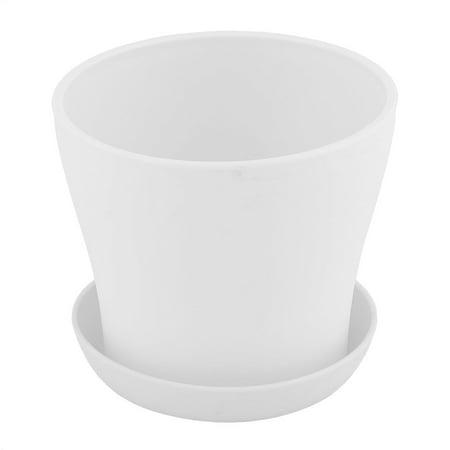 (Desktop Plastic Round Flower Plant Succulent Seeds Pot Container Holder White)