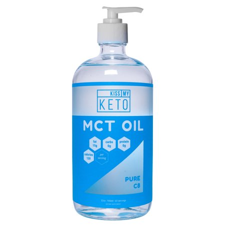 Kiss My Keto MCT Oil C8 - Pure C8 Brain Fuel, 32 oz Glass Bottle with Pump, Pure Caprylic Acid for The Ketogenic Lifestyle, Enhance Performance and Get Into Ketosis