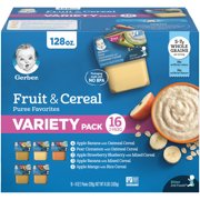 Gerber 2nd Foods Baby Food Fruit & Cereal Puree Favorites Variety Pack, 4 oz. Tubs (32 Count)
