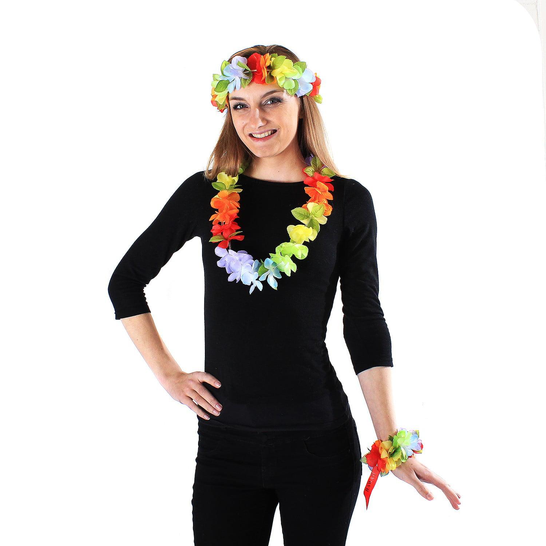 ribbon lei,tropical,corsage headband and wristband Hibiscus flower lei  2packs ,Hula Accessories,hawaiian crown,headband,haku,luau party