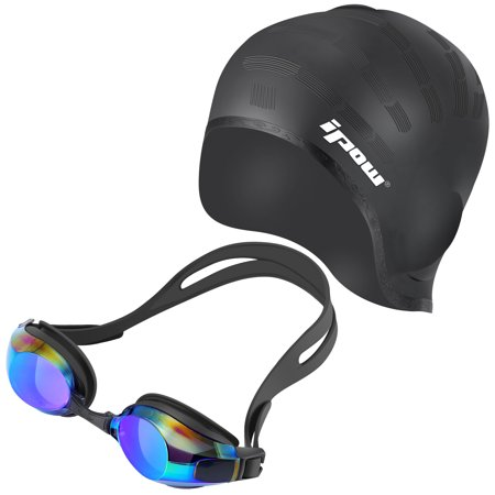 Swimming Goggles and Cap,IPOW Waterproof Silicone Swimming Cap Hat + Anti-fog Swim Goggle Swimming Glasses Set for for Adults Women Long Hair Men Kids Girls Boys Youth, Black ()