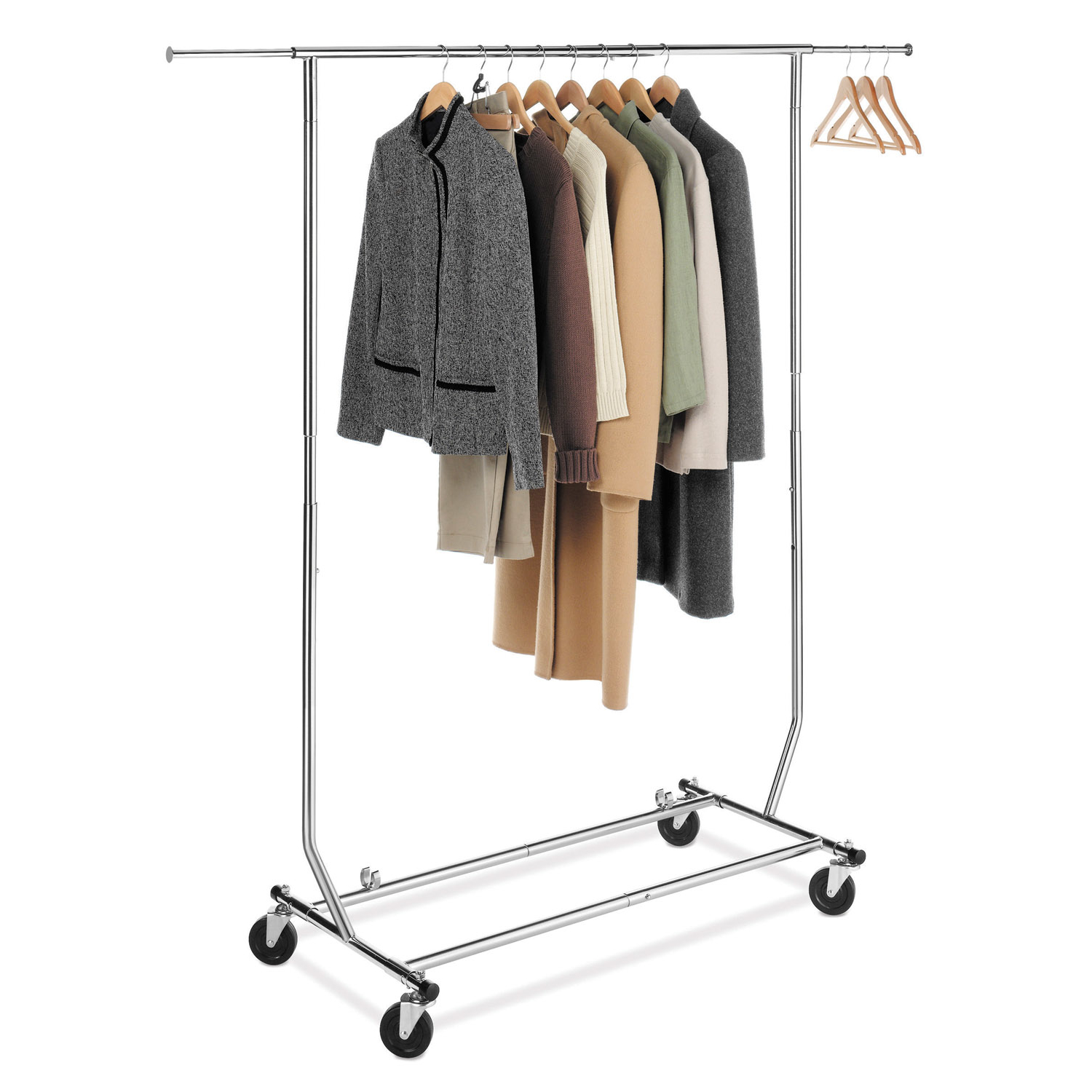 Whitmor Adjustable Rolling Garment Rack Collsapsible Chrome