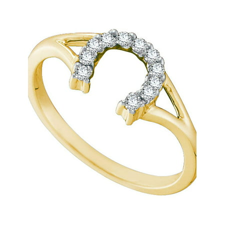 10kt Yellow Gold Womens Round Diamond Lucky Horseshoe Split-shank Ring 1/10 Cttw - image 1 de 1