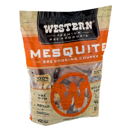 Western Premium BBQ Products Mesquite BBQ Smoking Cooking Chunks, 570 Cu In