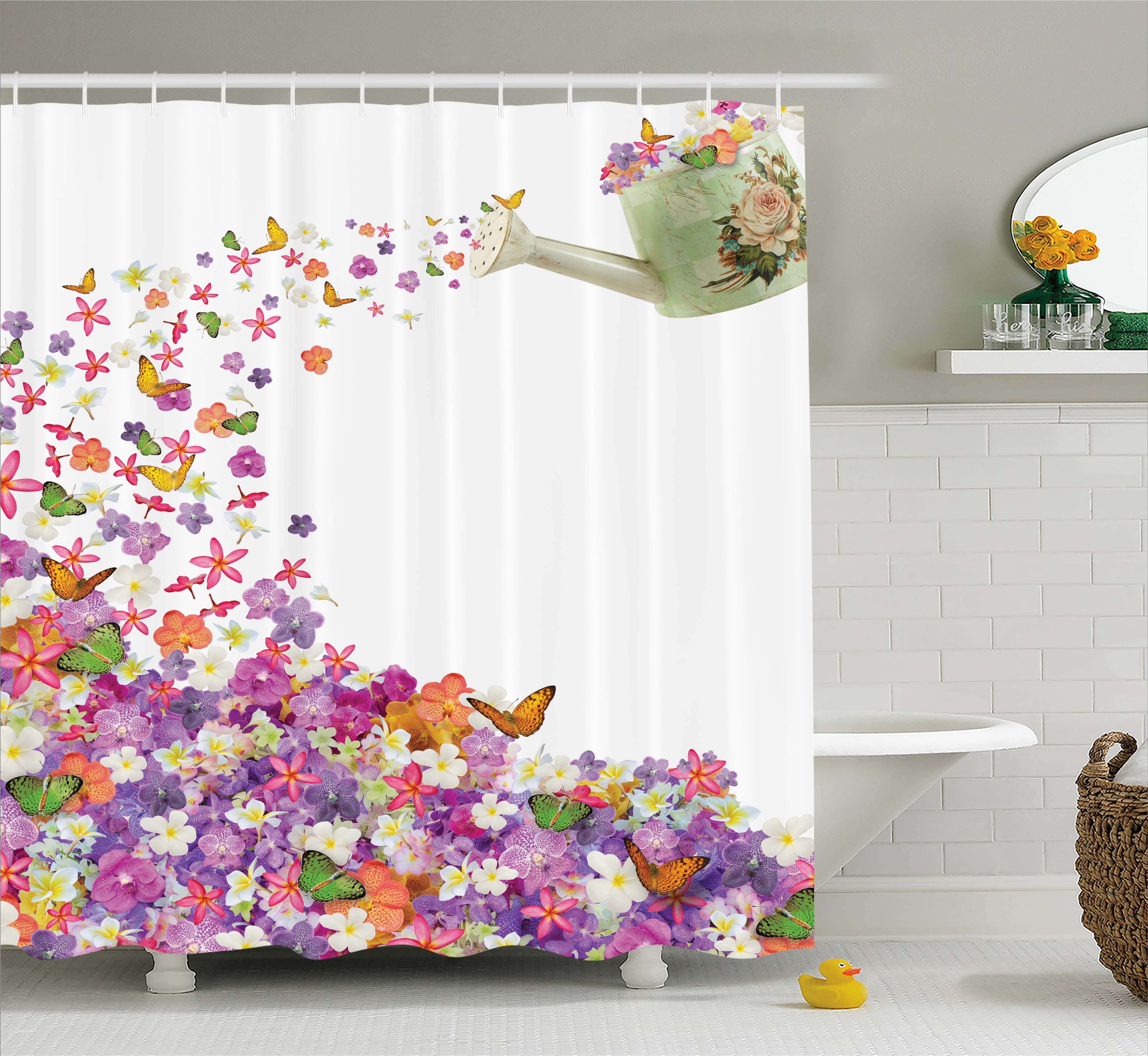 butterfly pansy water pail abstract painting floral extra long shower curtain