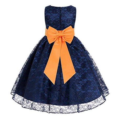 1bcf14948e24 Ekidsbridal - Navy Blue Floral Lace Overlay Flower Girl Dress ...