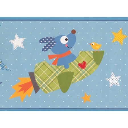 Cartoon Dog Rocket Stars Moon Teal Wallpaper Border Kids Design, Roll 15' x - Cartoon Halloween Wallpaper