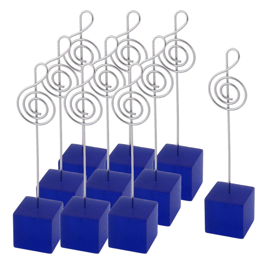 Wedding Resin Musical Note Shaped Tabletop Decor Photo Memo Clip Blue 10 Pcs