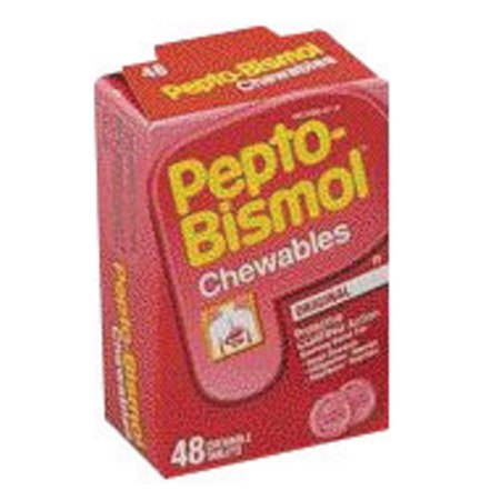 (4 Pack) Pepto Bismol Chewable Tablets for Nausea, Heartburn, Indigestion, Upset Stomach, and Diarrhea Relief, Original Flavor 48