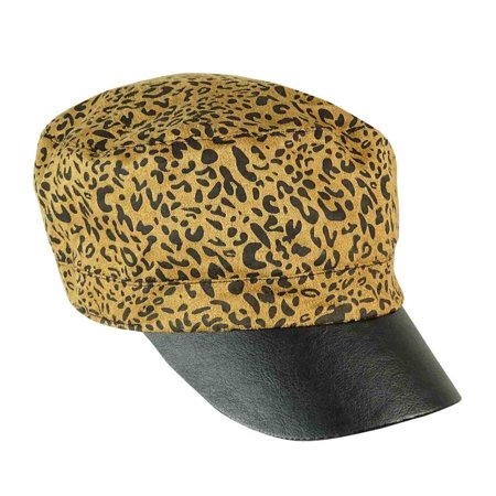 Collection Eighteen Women's Leopard Pleather Military Hat](Camel Hat)