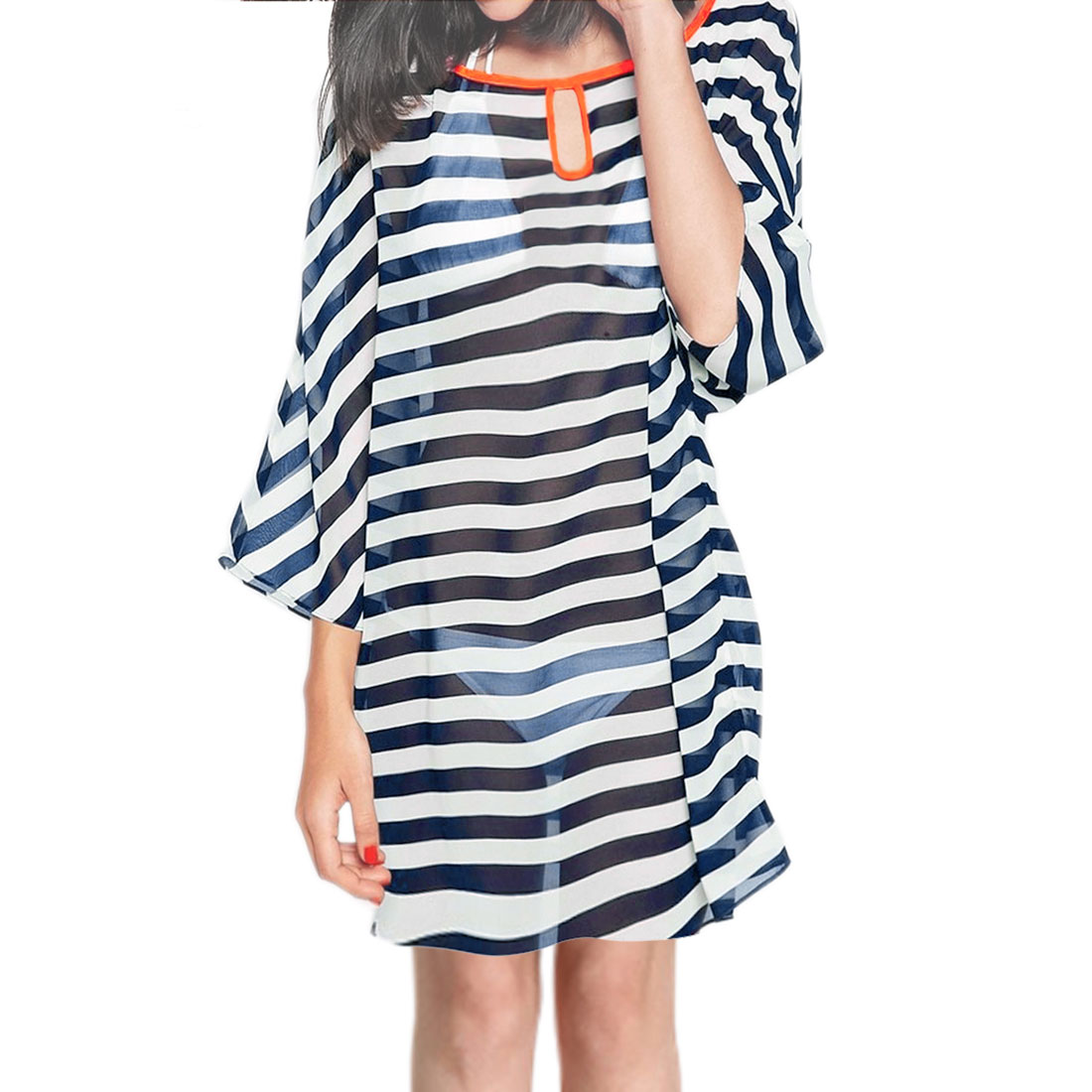 Women's Keyhole Front See Through Loose Stripes Chiffon Dress Blue (Size M / 8)