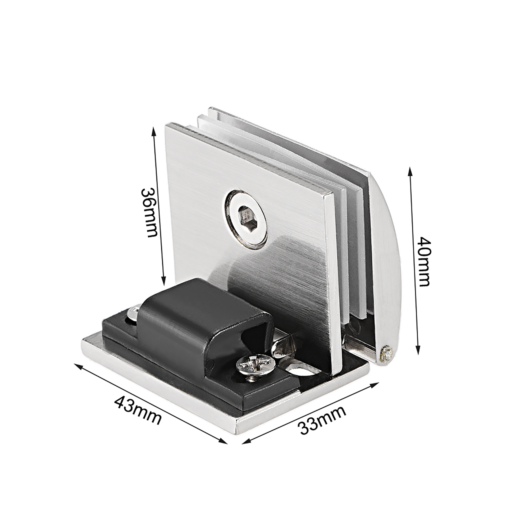 Uxcell Glass Hinge Showcase Door Hinge Glass Clamp for 5-8mm Thickness 2Pcs - image 1 of 5