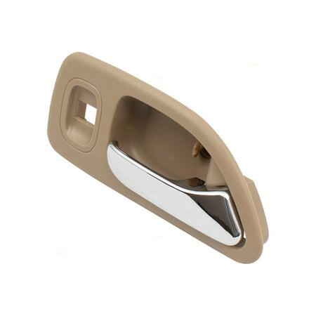 Passengers Rear Inside Interior Door Handle Chrome Lever w/ Beige Housing Replacement for Honda Accord w/ Power Locks 72625SV4013ZE