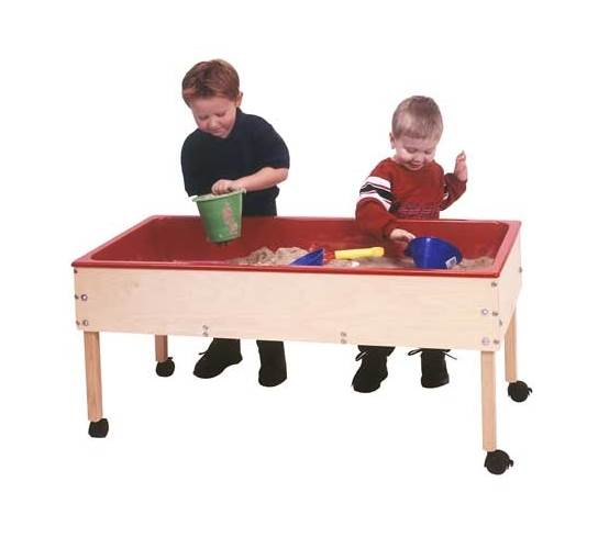 Toddler Sand & Water Table in Natural & Red Finish (Table Only)