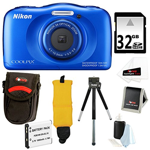Nikon COOLPIX S33 Waterproof Camera (Blue) with 32GB Accessory Bundle