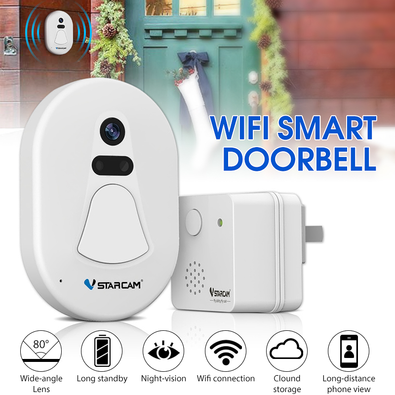 Grtsunsea White Smart WiFi Wireless Camera Door Bell Phone Visual Doorbell with Clear Night Vision and Anti-theft Alarm Function Door Ring Home Security