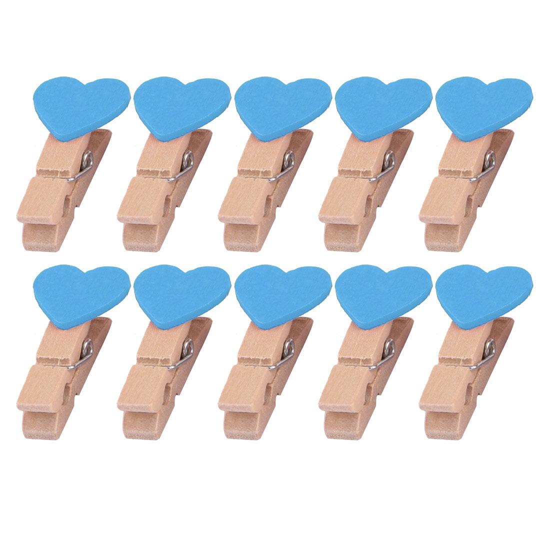 Family Wooden Heart Shape DIY Crafts Card Photo Ornament Peg Clip Blue 10pcs
