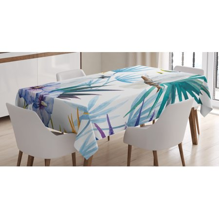 Tropical Tablecloth, Watercolor White Parrot Birds on Palm Tree Branches Leaves Exotic Nature Artwork, Rectangular Table Cover for Dining Room Kitchen, 52 X 70 Inches, Multicolor, by Ambesonne](Tropical Tablecloth)