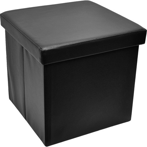 Sorbus Foldable Storage Ottoman, Collapsible/Folding Cube Ottoman with Cover–Perfect Hassock, Foot Stool, Seat, Coffee Table, Storage Chest and More, Contemporary Faux Leather (Black)