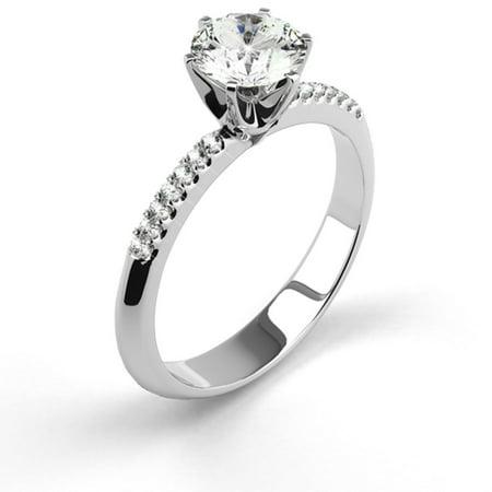 .38 Carat Weight Side Stones Round Cut Diamond Engagement Ring - 14K White