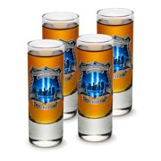 SET OF 4 Police Department PD We Will Never Forget 2 Ounce Shooter Shot Glasses