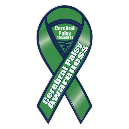 Cerebral Palsy Ribbon (Magnetic Bumper Sticker - Cerebral Palsy Awareness - Ribbon Shaped Support Magnet - 4