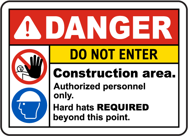 No Entry Sign Site Safety Sticker All Sizes