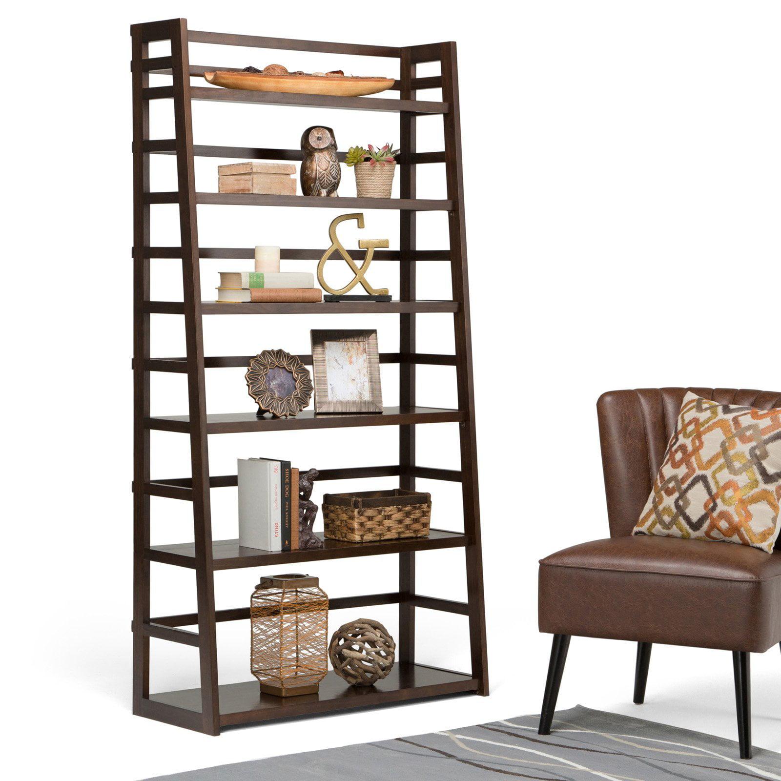Simpli Home Acadian Wide Ladder Shelf Bookcase