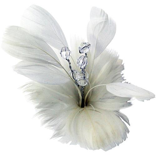Laliberi Quick Clip Flowers 1/Pkg-Feather Bloom White