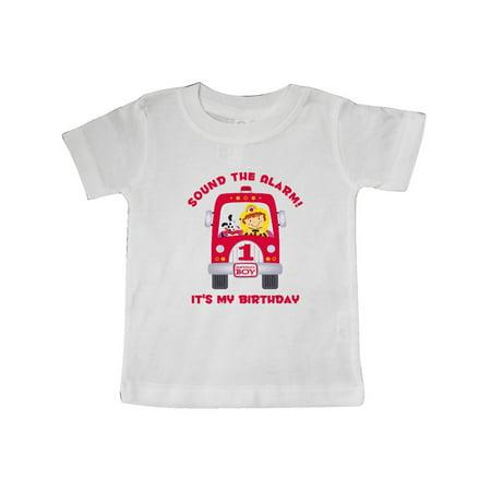 Fire Truck 1st Birthday Boy Baby T-Shirt