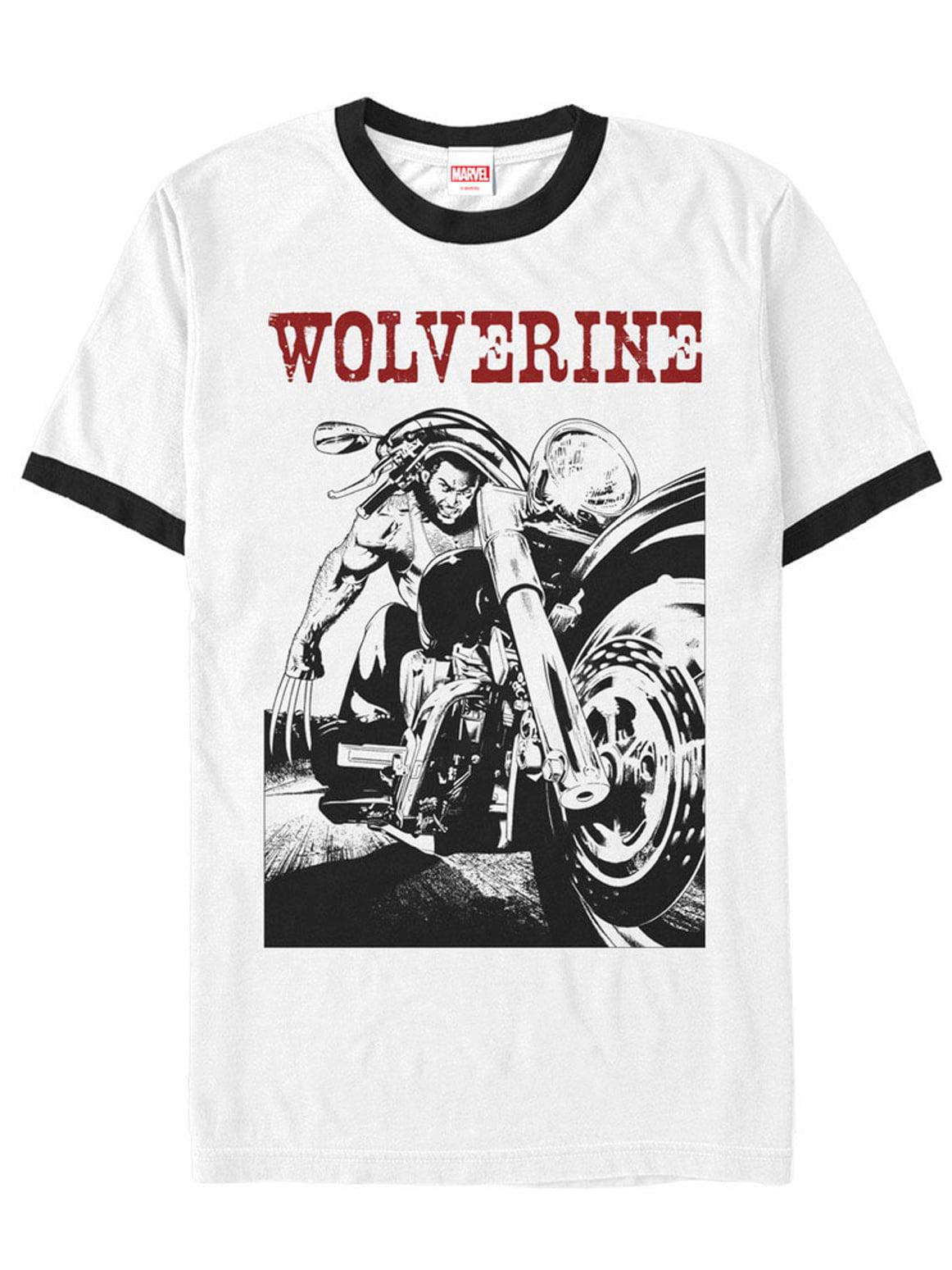 Marvel Men's X-Men Wolverine Biker Ringer T-Shirt