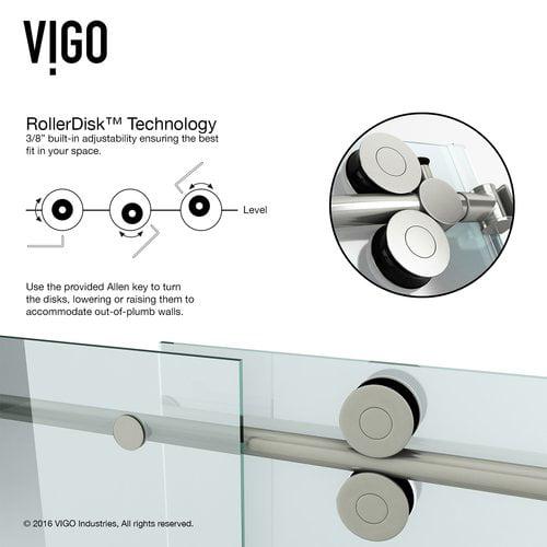 Vigo Elan 52'' x 74'' Single Sliding Frameless Shower Door