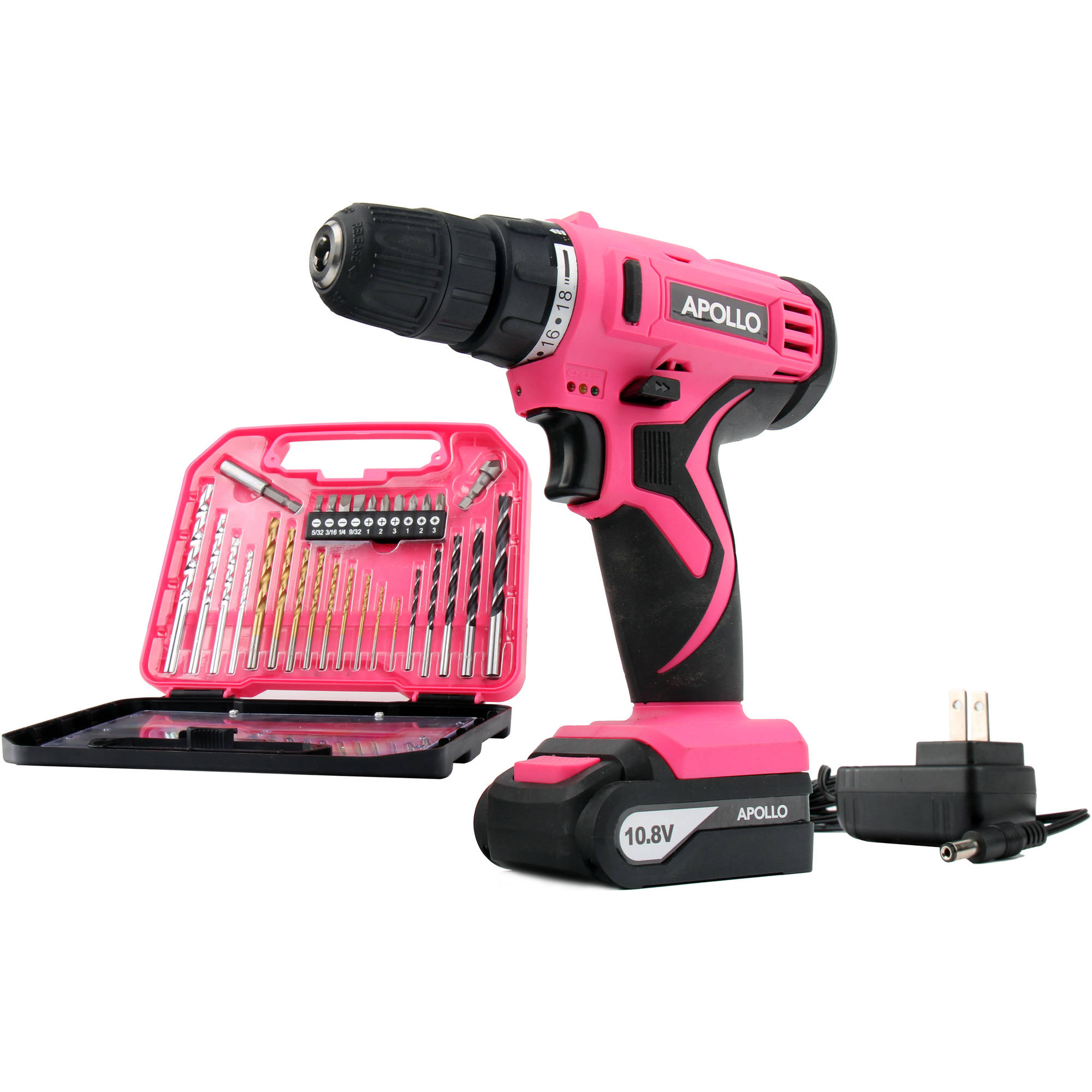 Apollo Tools 10.8V Lithium-Ion Cordless Drill with 30-Piece Accessory Set