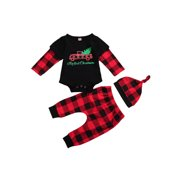 Xingqing Newborn Baby Girls Boys First Xmas Cartoon Printed Romper Trousers Hat Outfit Set 0-18 Months