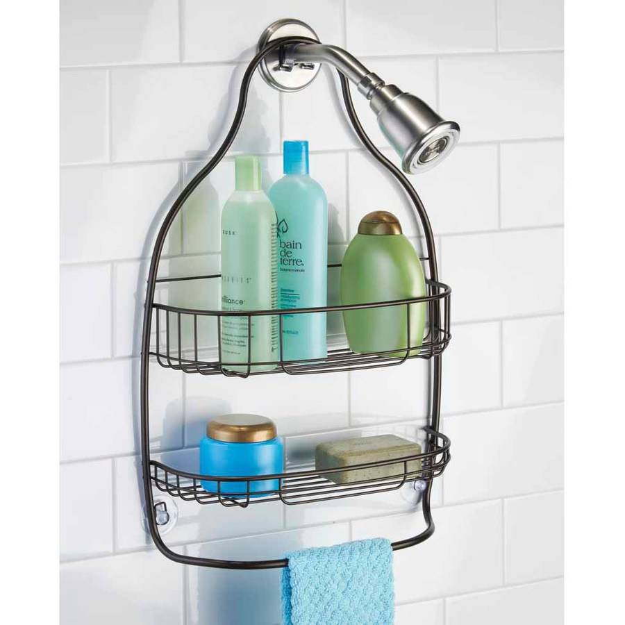 InterDesign Nogu Bathroom Shower Caddy for Shampoo, Conditioner, Soap, Wide, Bronze by INTERDESIGN
