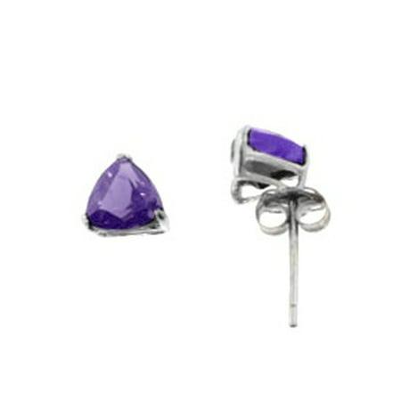 7mm Trillion Cut Genuine Amethyst Studs Sterling Silver Earrings
