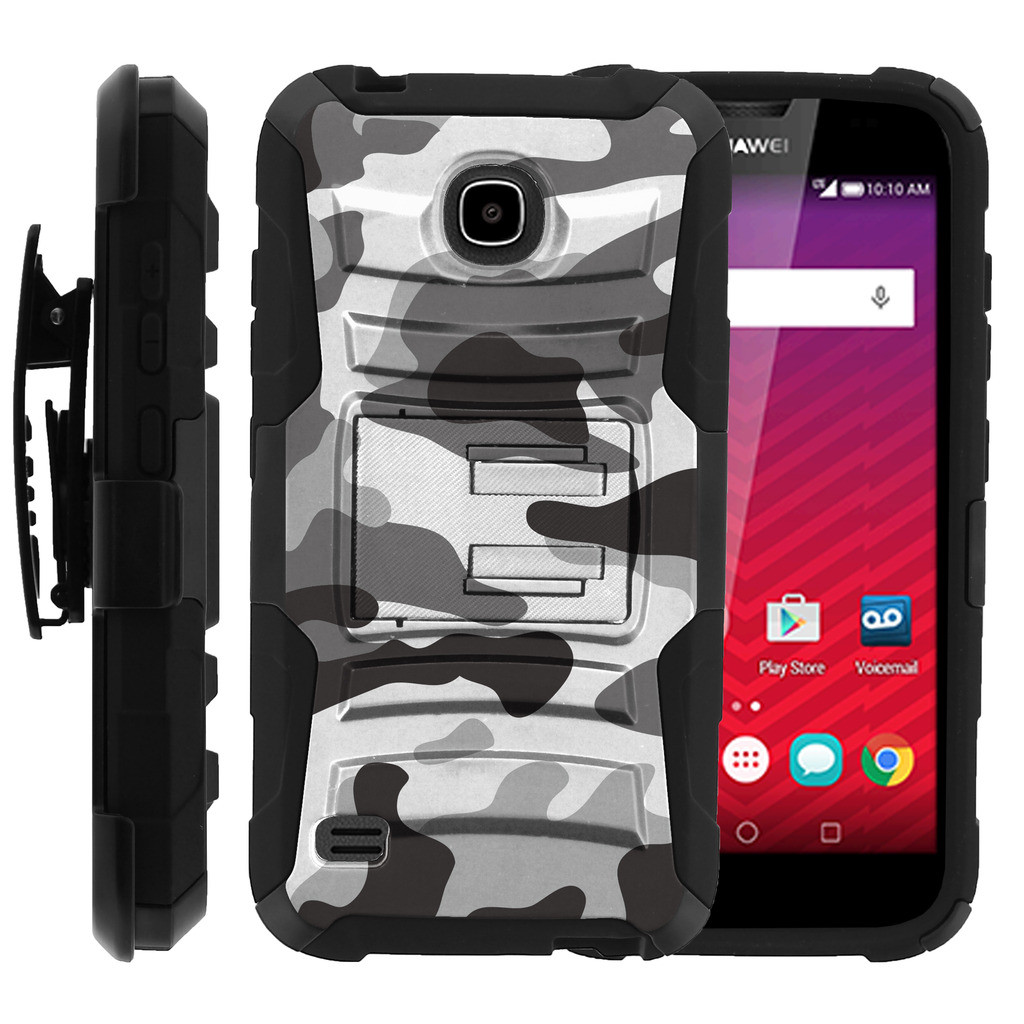 Huawei Union 538Y Case | Huawei Union Holster Case [ Clip Armor ] Dual Layer Rugged Case with Kickstand + Holster - Gray Camouflage