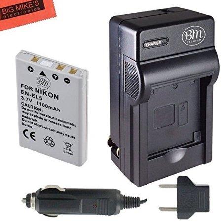 BM Premium EN-EL5 Battery and Battery Charger for Nikon Coolpix P80, P90, P100, P500, P510, P520, P530 Digital Camera ()
