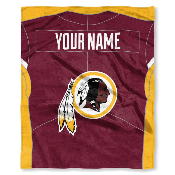 "NFL Washington Redskins ""Jersey"" Personalized Silk Touch Throw Blanket"