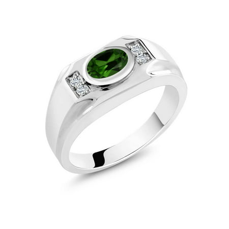 1.36 Ct Oval Green Chrome Diopside White Topaz 925 Sterling Silver Men