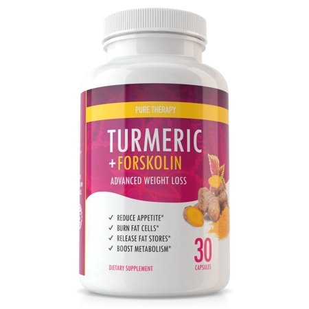 Diet Therapy - Pure Therapy Turmeric Diet - Turmeric with Forskolin Advanced Weight Loss Formula - Appetite Suppressant to Support Weight Loss and Fat Burn - 30 Day...