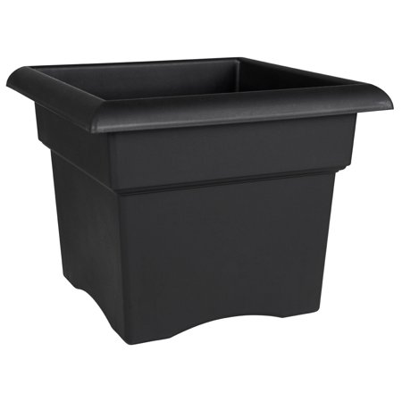 """Veranda Deck Box Planter - 18"""" - Black, Large square opening will accommodate several grower pots. Deck and Patio Collection. By Bloem"""